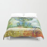 fishing Duvet Covers featuring fishing by Agnes Laczo