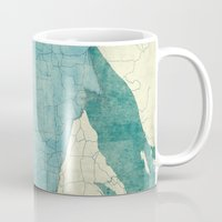 wisconsin Mugs featuring Wisconsin State Map Blue Vintage by City Art Posters