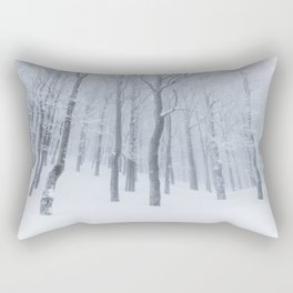 Snow covered frozen forest in winter Rectangular Pillow