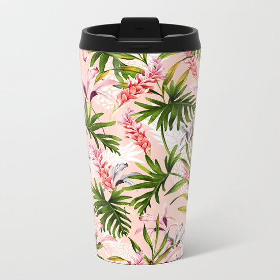 Tropical nature pattern Metal Travel Mug