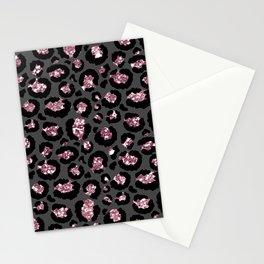 Black & Rose Gold Leopard Print Glitter Stationery Cards