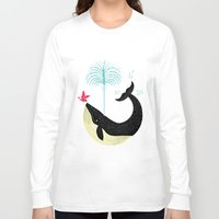 positive Long Sleeve T-shirts featuring The Bird and The Whale by Oliver Lake