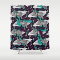 arya Shower Curtains featuring Hexagonal graphic lines - darker by Hinal Arya