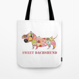 Sweet Dachshund, Watercolor Donut Pattern Illustration Tote Bag