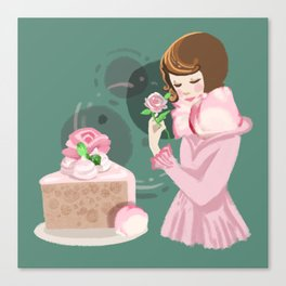 Rose Chiffon Cake Canvas Print
