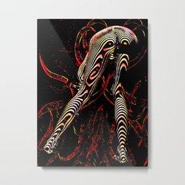 8386-KMA Zebra Striped Woman Bending Over Red Metal Print