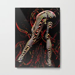 8386-KMA Zebra Striped Woman Bending Over Red Metal Print