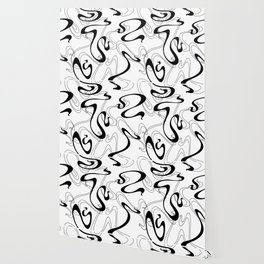 Abstract Black and White Ribbon Swirl Wallpaper
