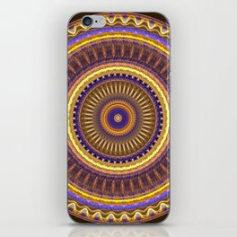Groovy mandala with waves and tribal patterns in brown, yellow, blue and purple iPhone Skin