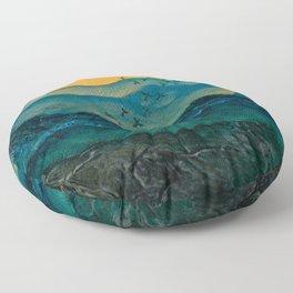Textured mountainscape Floor Pillow