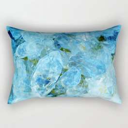 Blue Crystal Geode Art Rectangular Pillow