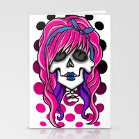 rockabilly Stationery Cards featuring 'Rockabilly skull' by NeonStarr
