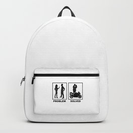 Funny Motorbike Rider Wife Problem Solution Gift Backpack