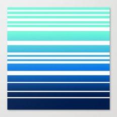 Bay Ombre Stripe: Mint Navy Canvas Print
