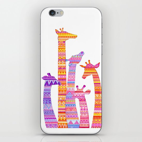 Giraffe Silhouettes in Colorful Tribal Print iPhone & iPod Skin