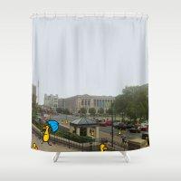 philadelphia Shower Curtains featuring Philadelphia Steps by Veronica Nagorny