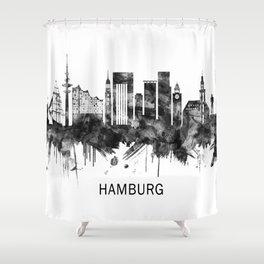 Hamburg Germany Skyline BW Shower Curtain