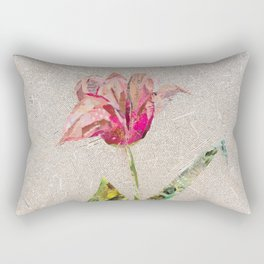 pink tulip on french newsprint background Rectangular Pillow