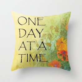 One Day at a Time (ODAT) Lilacs & Poppies Throw Pillow