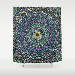 Colorful Floral Gravel Garden Mandala Shower Curtain