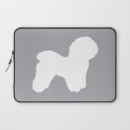 Bichon Frise dog grey and white minimal pet art dog breeds silhouette Laptop Sleeve