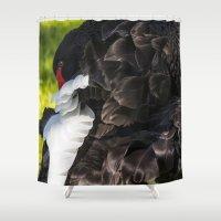 black swan Shower Curtains featuring Black Swan by Veronika