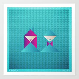 Music in Monogeometry : She & Him Art Print