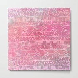 Geometrical girly pink watercolor abstract tribal Metal Print