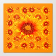 Decorative Golden Sunflowers Abstracted Floral Art Canvas Print