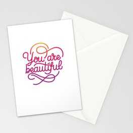 You are beautiful hand made lettering motivational quote in original calligraphic style Stationery Cards