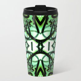 Loopy Lines Abstract Aquamarine and Olive Greens Travel Mug
