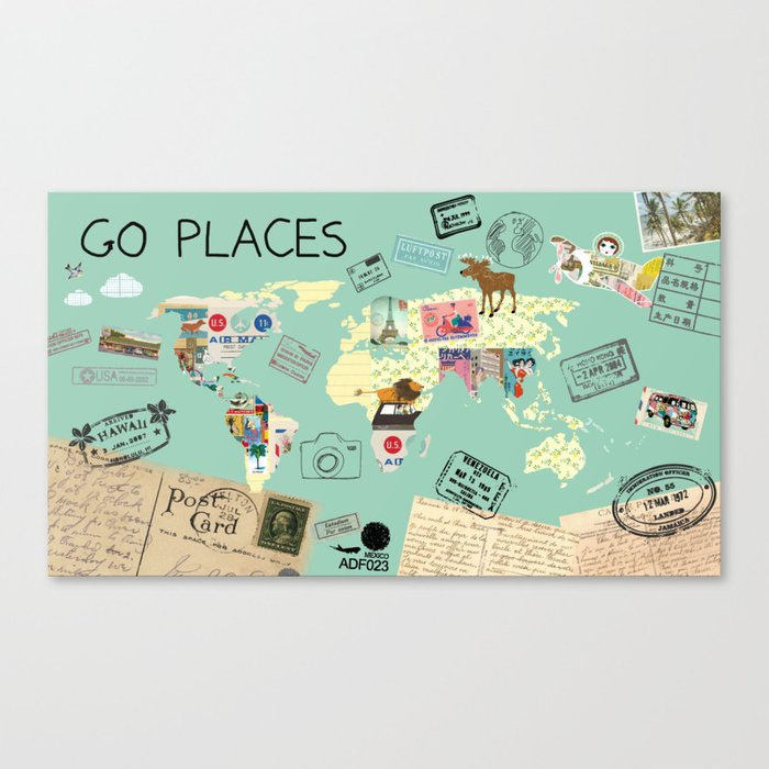 Go places world map collage poster print canvas print by go places world map collage poster print canvas print gumiabroncs Gallery