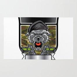 Cougar Panther Mascot Head military emblem Rug