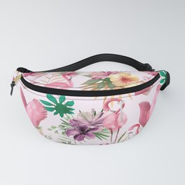 Tropical Pink Flamingo And Flowers  Pattern  Fanny Pack