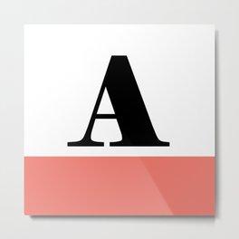 Monogram Letter A-Pantone-Peach Echo Metal Print