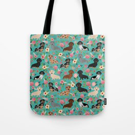 Dachshund florals flower pet portrait dog art dachsie doxie pet art dog breeds Tote Bag