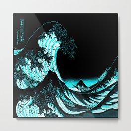The Great Wave : Dark Teal Metal Print