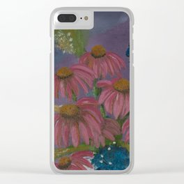 Pink cone flowers in vase Clear iPhone Case