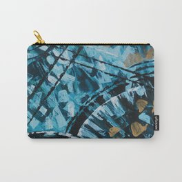 Turquoise and Gold Abstract Painting Carry-All Pouch