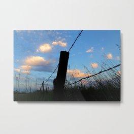 Fencepost Silhouette Metal Print