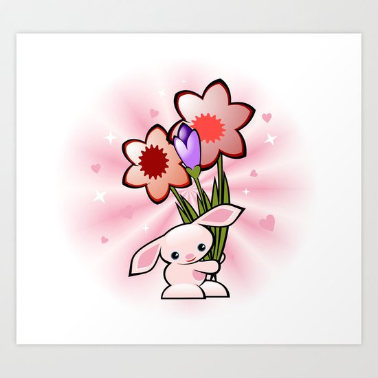 Little Pink Bunny With Flowers Art Print