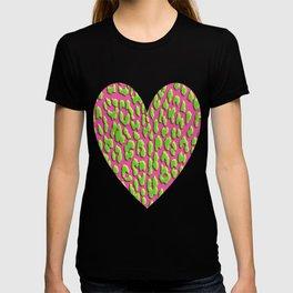 Bright Pink & Green Leopard Print T-shirt