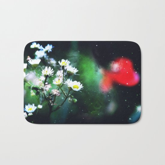 Flowers, My Heart And The Stars Bath Mat