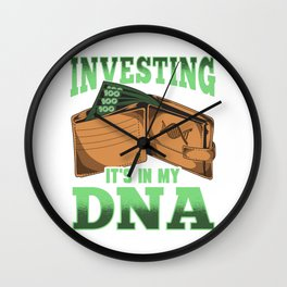 Investing: It's In My DNA Cool Financial Investor Wall Clock