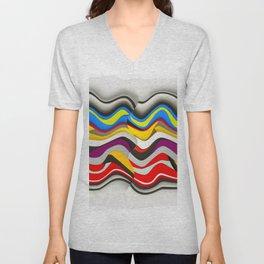 Colored Waves Unisex V-Neck