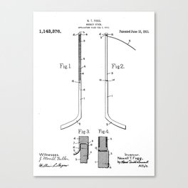 Ice Hockey Stick Patent - Ice Hockey Art - Black And White Canvas Print