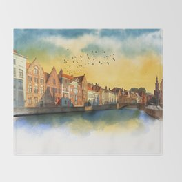 Landscape with beautiful medieval houses and canals. Bruges, Belgium. Throw Blanket