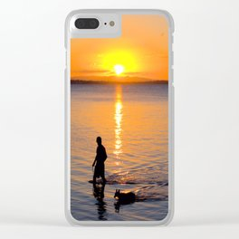Wading in the Sunset Clear iPhone Case