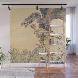 """The Dragon Caught the Queen"" by Arthur Rackham Wall Mural"