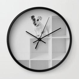 Puppy waiting Wall Clock